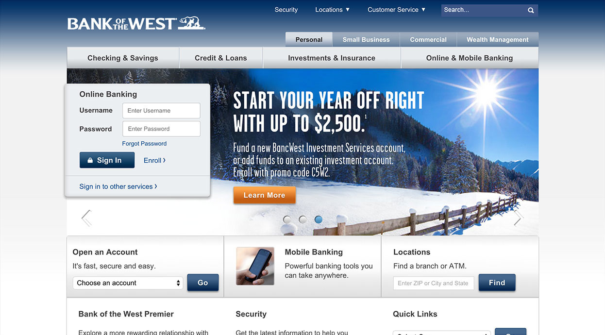 Bank of the West home page