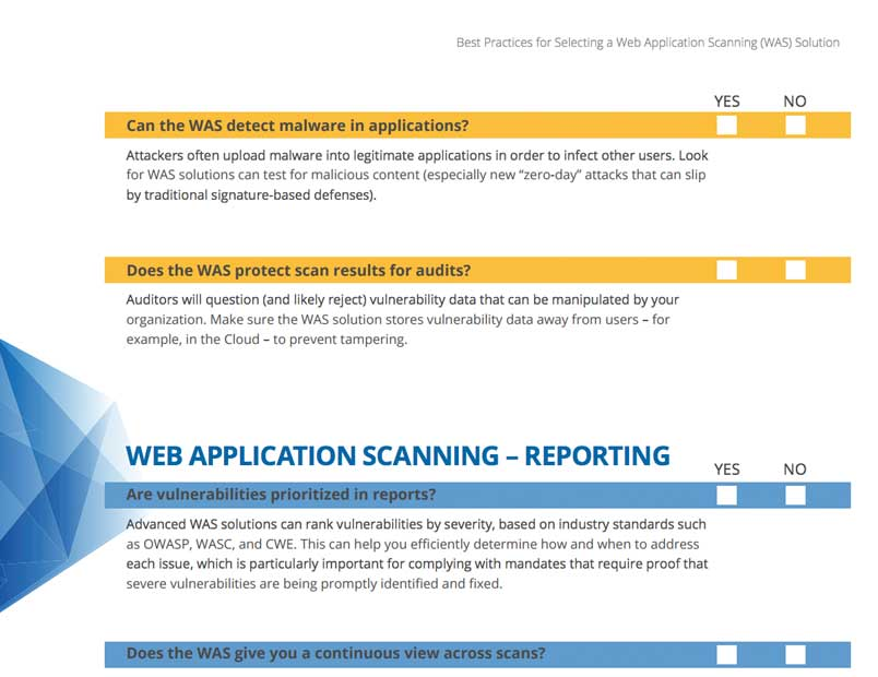 Best Practices For Selecting A Web Application Scanning Was