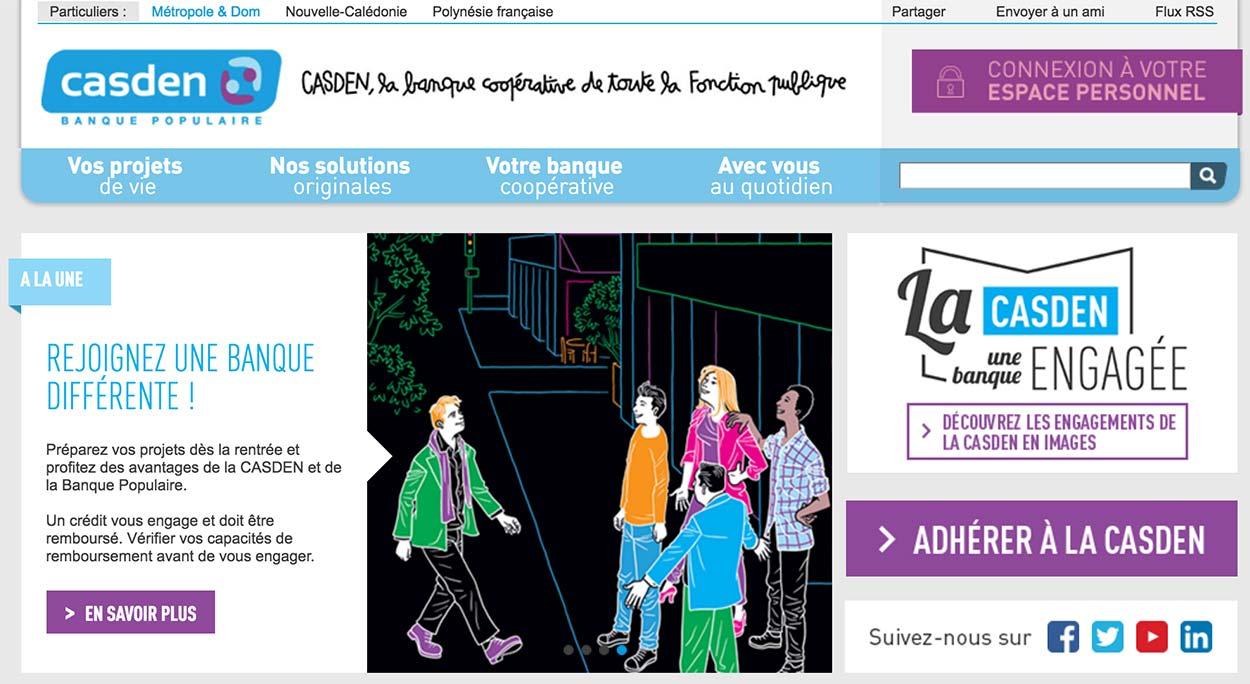 ECASDEN Banque Populaire home page