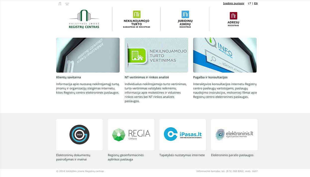 The Lithuanian State Enterprise Centre of Registers home page