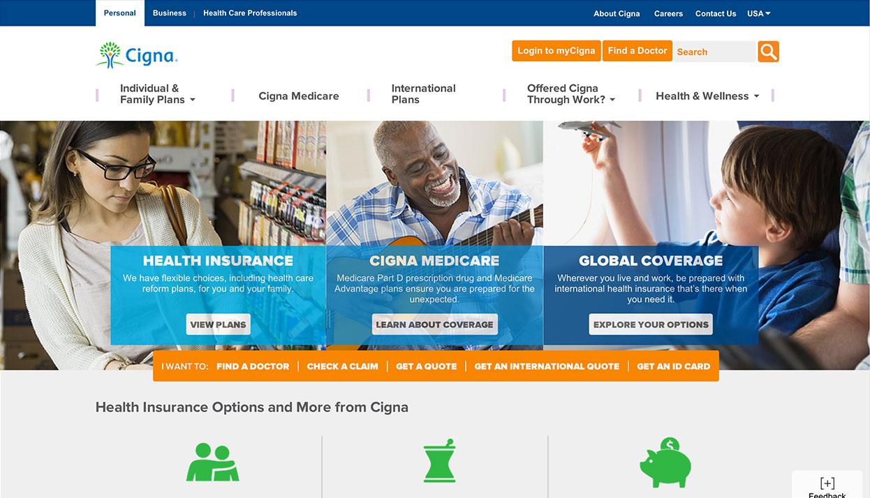 CIGNA home page