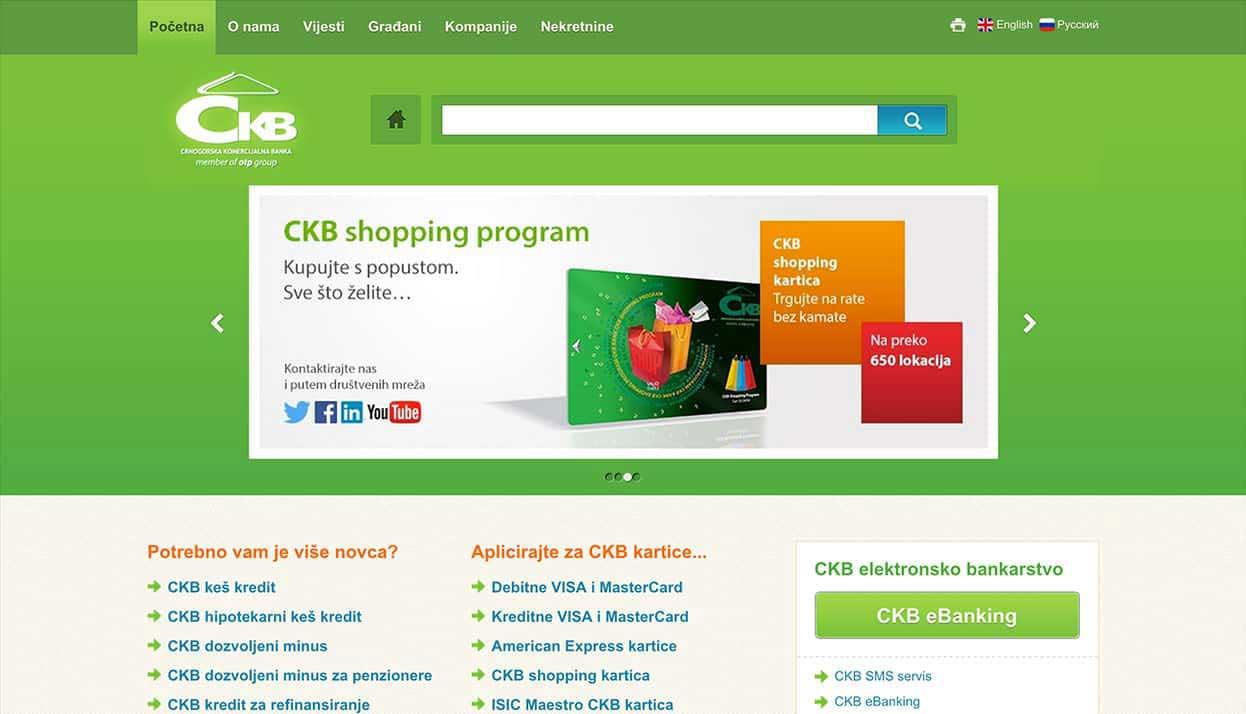 Crnogorska Komercijalna Banka (CKB) home page