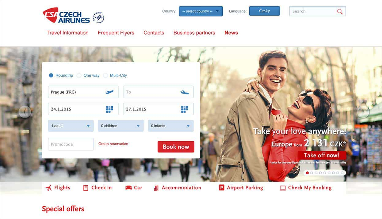 Czech Airlines home page