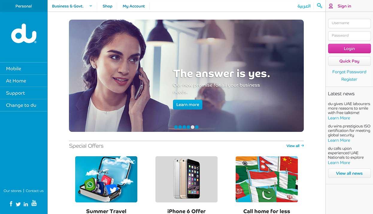 du Telecom home page