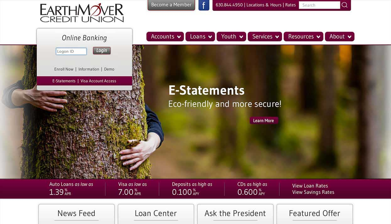 EarthMover Credit Union home page
