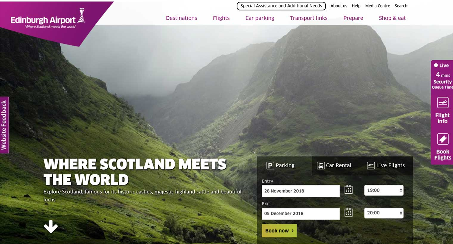 Edinburgh Airport home page
