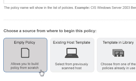 Policy Creation Screenshot
