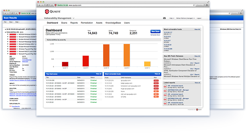 Qualys Vulnerability Management screens