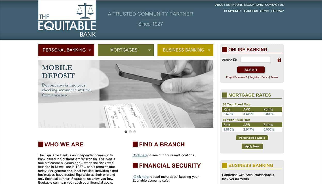 The Equitable Bank home page