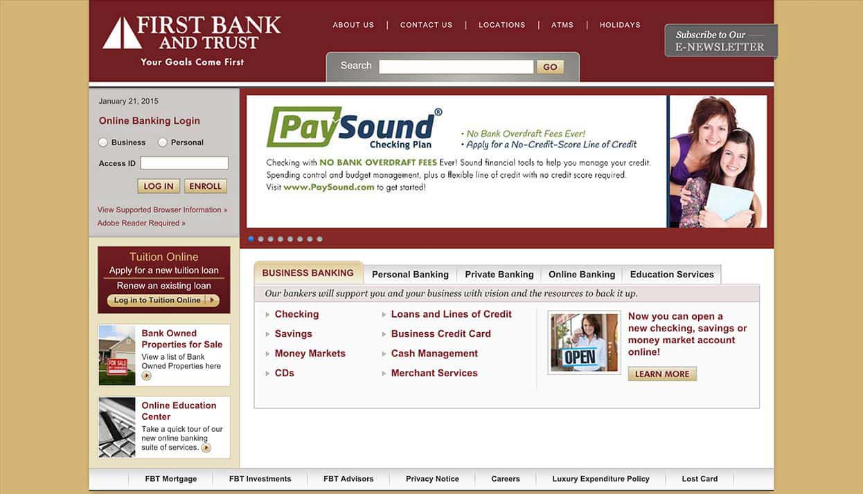 First Bank & Trust home page