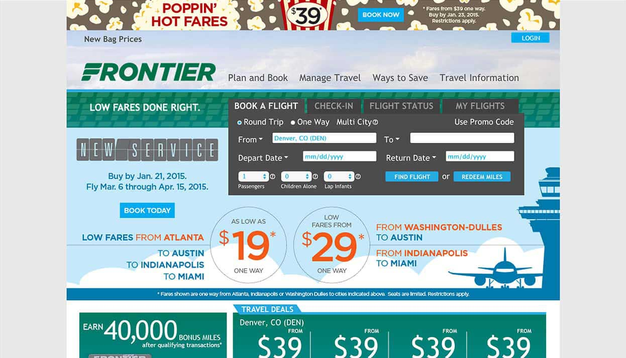 Frontier Airlines home page