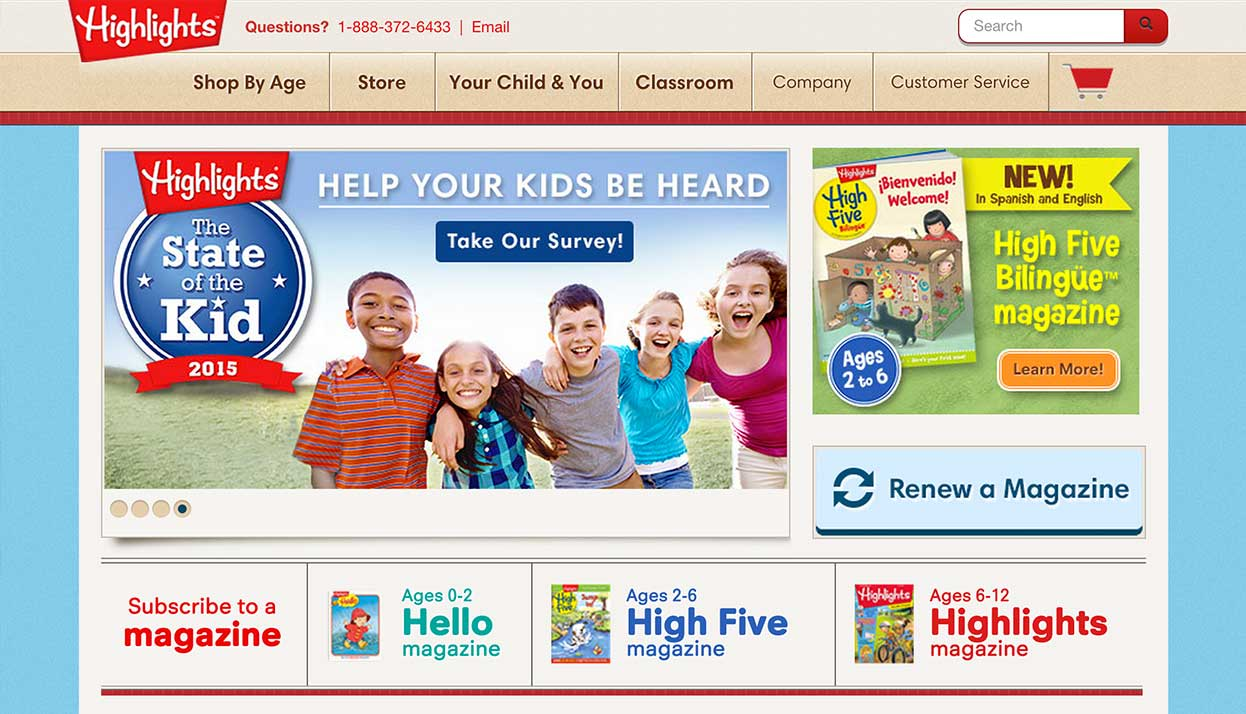 Highlghts for Children home page