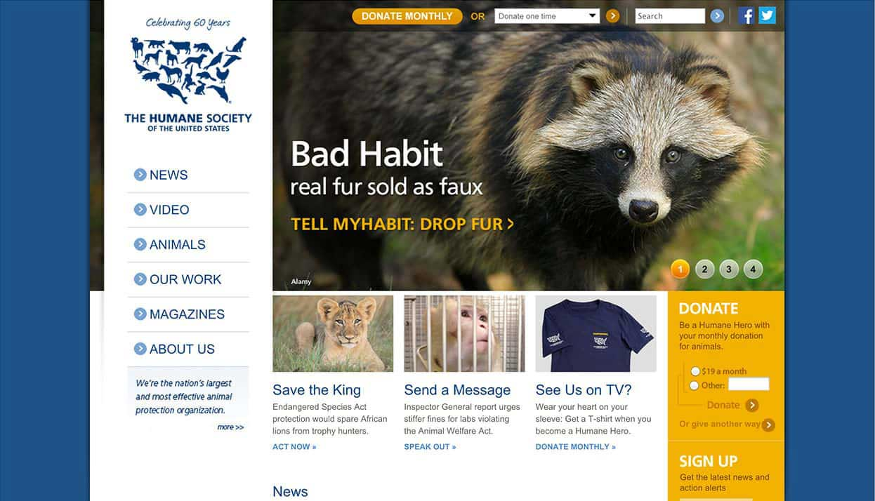 The Humane Society of the United States home page