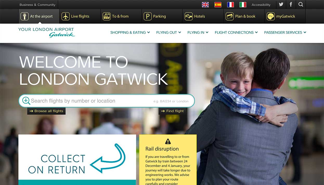 London Gatwick home page