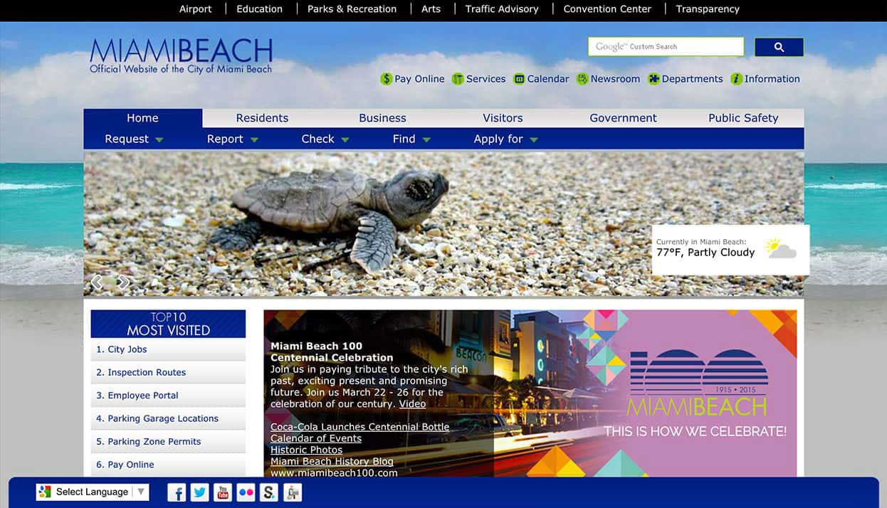 City of Miami Beach home page