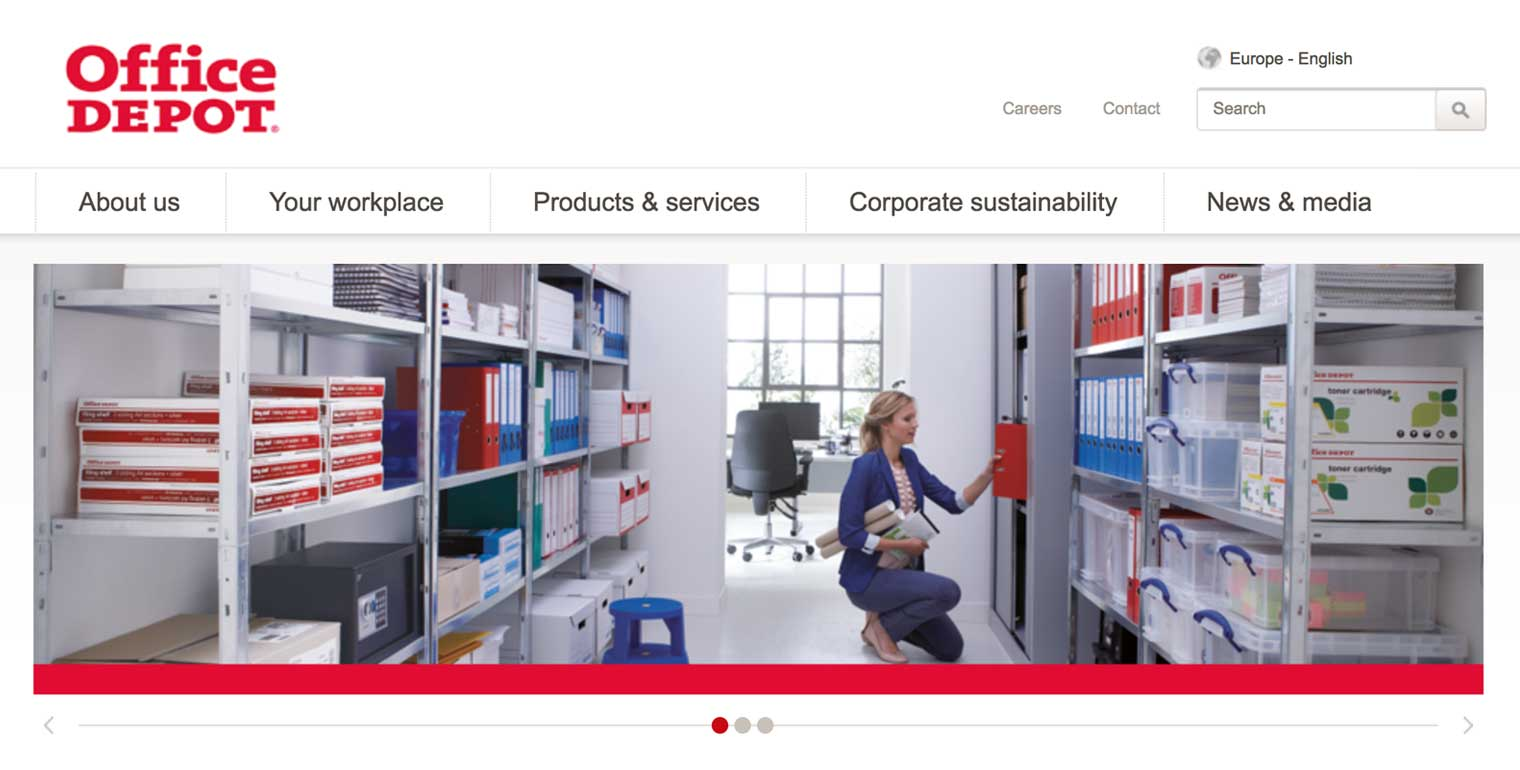 Office Depot Europe home page
