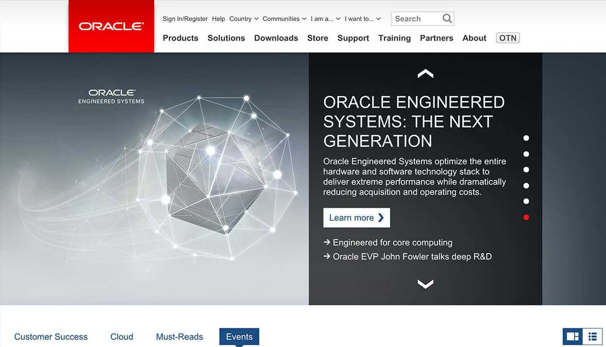 Oracle home page