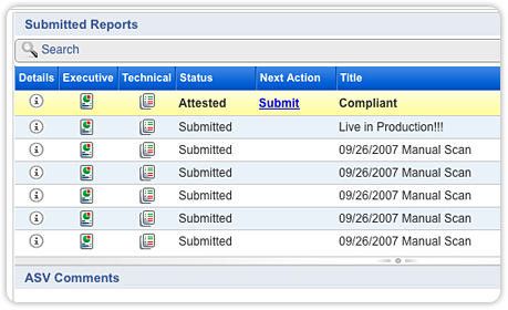 Qualys PCI Complianc Submitted Reports Screenshot