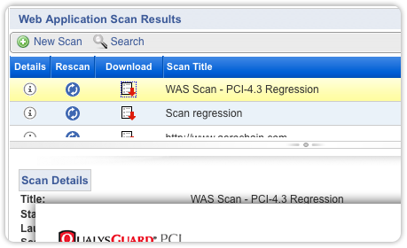 Qualys PCI Compliance Web App Scan Results Screenshot