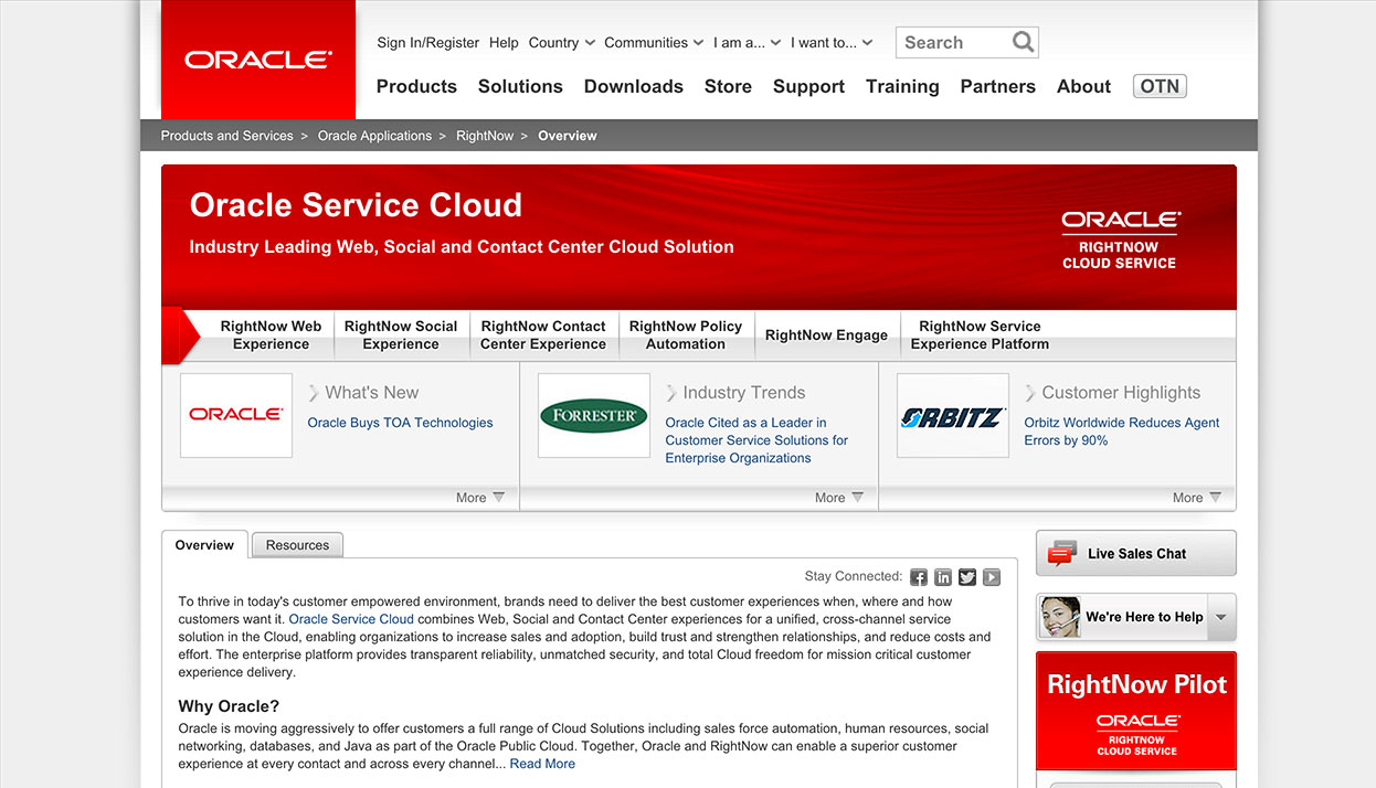 RightNow Technologies home page