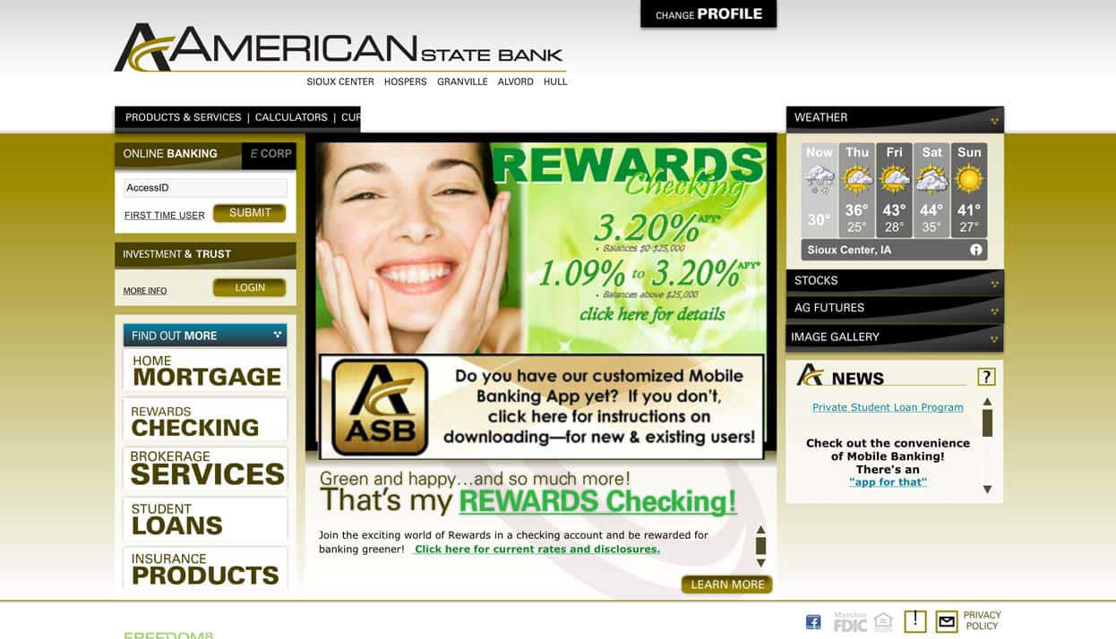 American State Bank home page