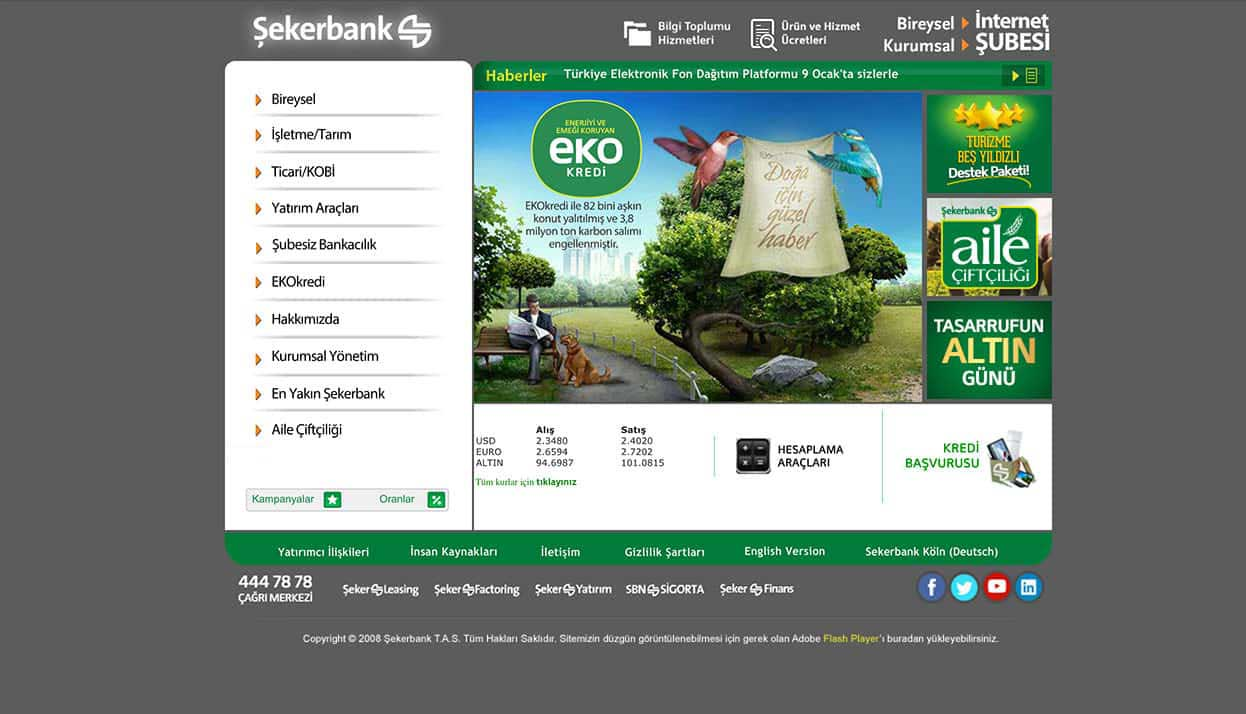 Sekerbank home page