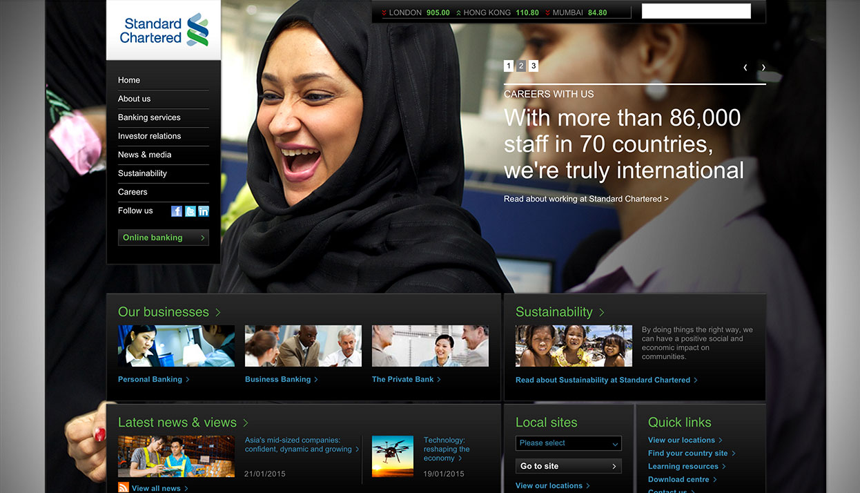 Standard Chartered Bank home page