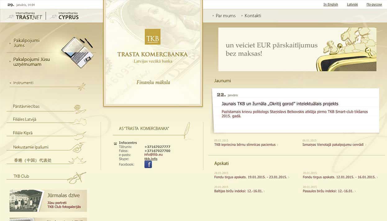 Trasta Komercbanka home page