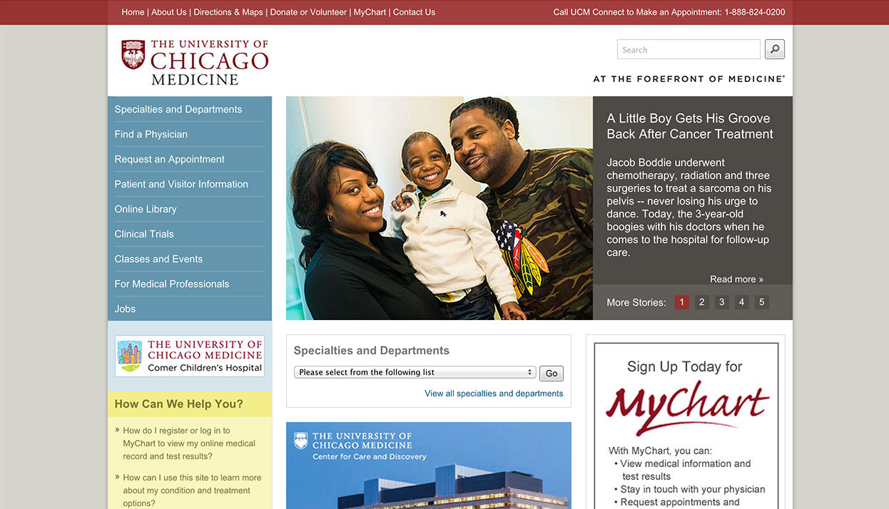 The University of Chicago Medical Center home page