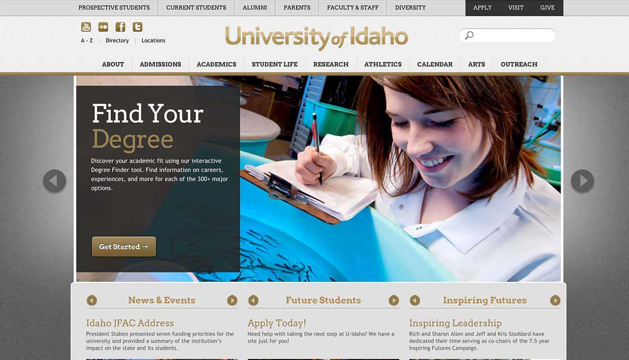 University of Idaho home page