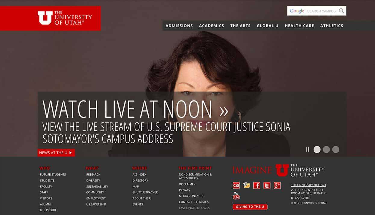 The University of Utah home page